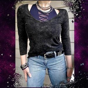 POL 3/4-sleeve Black Acid-washed V-neck Long Tunic